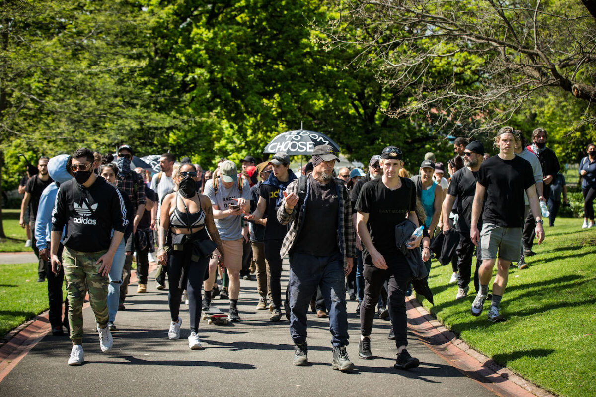 Protesters Rally Against COVID-19 Restrictions As Lockdown Continues In Melbourne