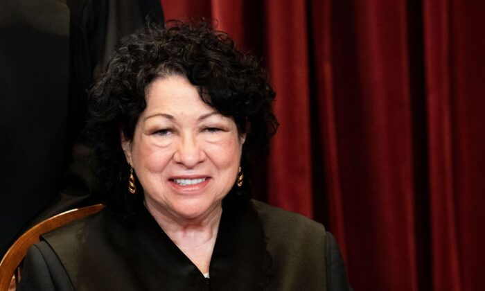 Associate Justice Sonia Sotomayor sits during a group photo of the Justices at the Supreme Court in Washington, D.C., on April 23, 2021. (Erin Schaff/Pool/AFP via Getty Images)