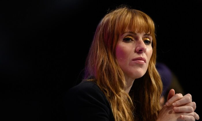 Deputy Leader of the Labour Party Angela Rayner listens to speeches in the main hall on day four of the Labour Party conference in Brighton, England on Sept. 28, 2021. (Leon Neal/Getty Images)