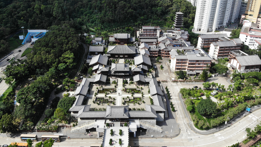 The,Areal,View,Of,Temple,And,Garden,In,Hong,Kong