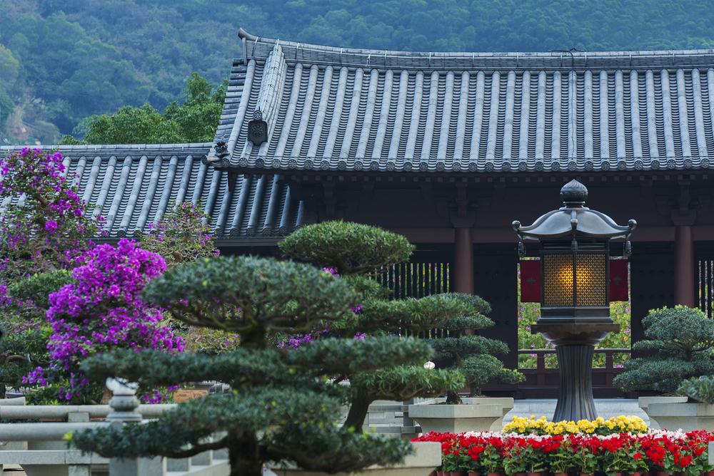 Chi,Lin,Nunnery,In,Hong,Kong,At,Dusk