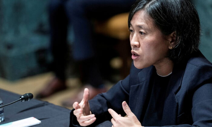 U.S. Trade Representative Katherine Tai testifies before a Senate Appropriations subcommittee during a hearing on Capitol Hill, in Washington, on April 28, 2021. (Sarah Silbiger/Reuters)
