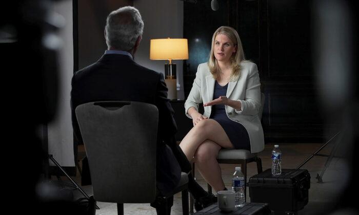 Facebook whistleblower Frances Haugen is interviewed by Scott Pelley for a CBS News 60 Minutes program in an undated photograph. (Robert Fortunato for CBS News/60 Minutes/Handout via Reuters)