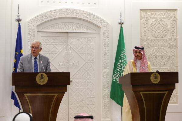 Josep Borrell and Faisal bin Farhan Al-Saud
