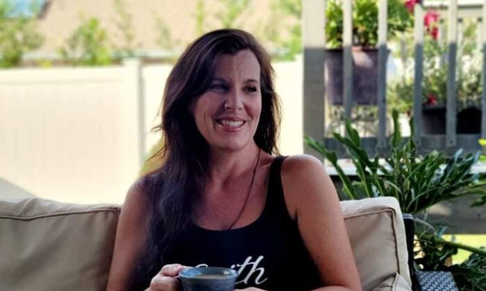 Karen 'Kay Sea' Skau relaxes with a cup of coffee in Palm Coast, Fla., on Oct. 1, 2021. (Photo courtesy of Karen Skau)