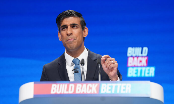 Chancellor of the Exchequer Rishi Sunak speaking at the Conservative Party Conference in Manchester, England, on Oct. 4, 2021. (Stefan Rousseau/PA)