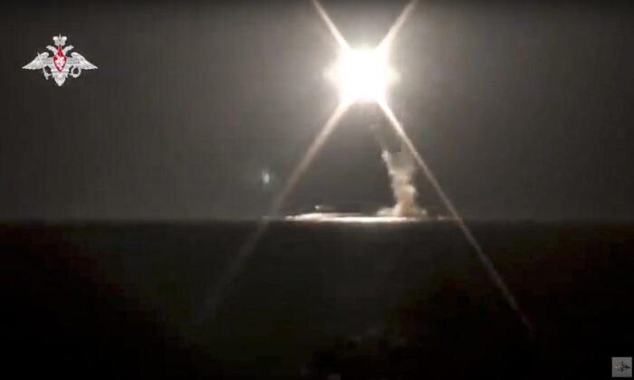 In this photo taken from video distributed by Russian Defense Ministry Press Service on Oct. 4, 2021, a new Zircon hypersonic cruise missile is launched by a submarine of the Russian navy from the Barents Sea. (Russian Defense Ministry Press Service via AP)