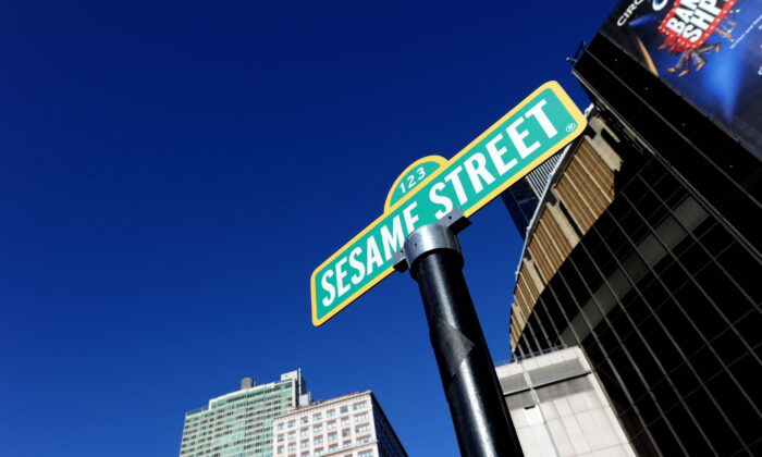 The temporary Sesame Street sign is seen on 31st Street & 8th Avenue in New York City, on Feb. 4, 2010. (Jason Kempin/Getty Images)
