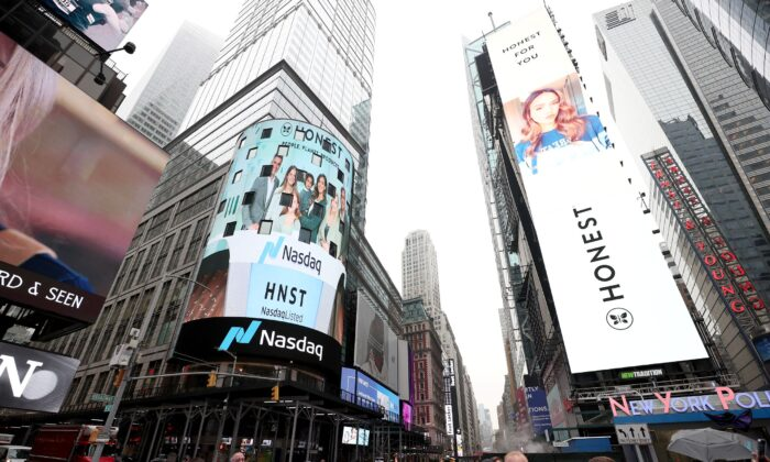 A view of Times Square is shown in New York City, on May 5, 2021. (Dimitrios Kambouris/Getty Images for The Honest Company)