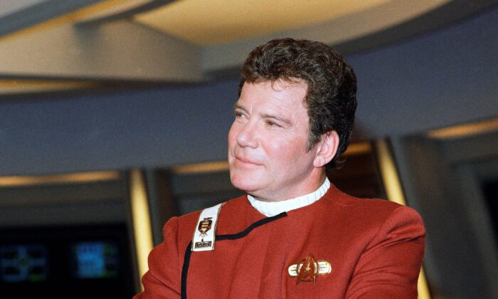 """William Shatner, who portrays Capt. James T. Kirk, attends a photo opportunity for the film """"Star Trek V: The Final Frontier,"""" in this 1988 file photo. (Bob Galbraith/AP Photo)"""