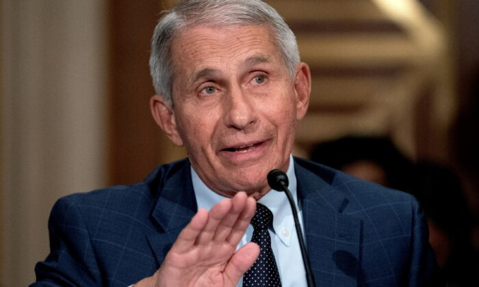 Dr. Anthony Fauci is seen at a hearing at the Dirksen Senate Office Building in Washington, on July 20, 2021. (Stefani Reynolds/Pool via Reuters)