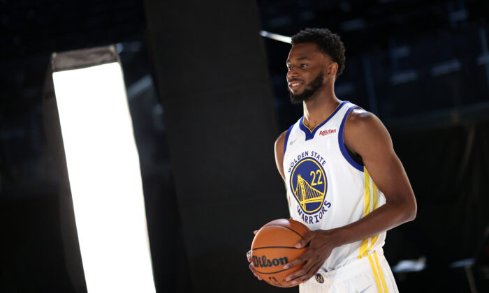 Andrew Wiggins #22 of the Golden State Warriors poses for a portrait during the Golden State Warriors Media Day at Chase Center in San Francisco, Calif. on Sept. 27, 2021. (Ezra Shaw/Getty Images)