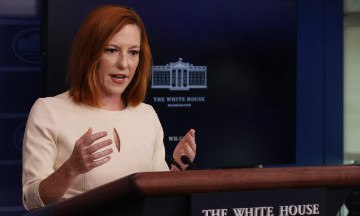 White House Press Secretary Jen Psaki calls on reporters during the daily news conference in the Brady Press Briefing Room at the White House in Washington on Oct. 4, 2021. (Chip Somodevilla/Getty Images)