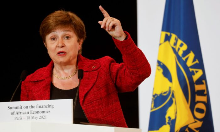 International Monetary Fund (IMF) Managing Director Kristalina Georgieva speaks during a joint news conference at the end of the Summit on the Financing of African Economies in Paris, France, on May 18, 2021. (Ludovic Marin/Pool via Reuters)