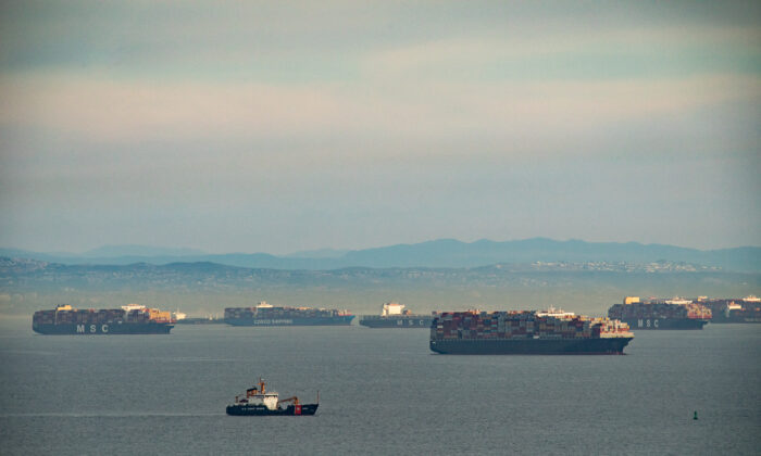 Ships await to be offloaded in the ports of Los Angeles and Long Beach on Jan. 12, 2021. (John Fredricks/  Pezou)