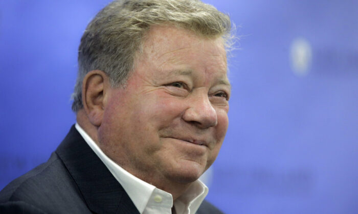 Actor William Shatner takes questions from reporters after delivering the commencement address at New England Institute of Technology graduation ceremonies, in Providence, R.I., on May 6, 2018. (Steven Senne/AP Photo)