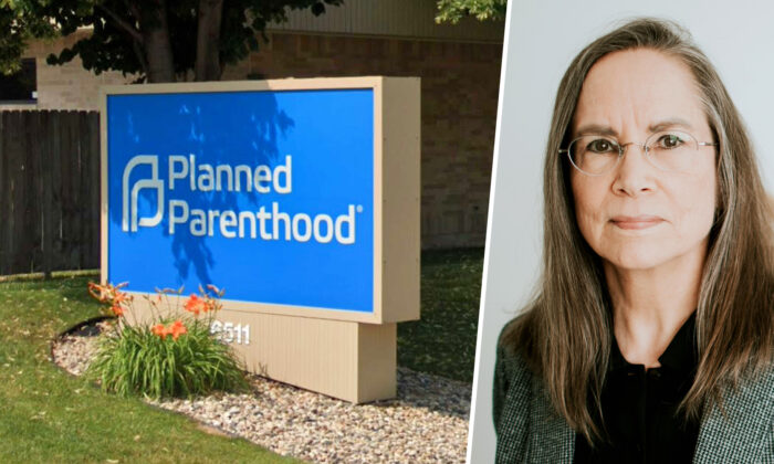 Left: Planned Parenthood in Sioux Falls, South Dakota. (Screenshot/Google Maps) Right: Photo taken on an unknown date of Dr. Patti Giebink. (Courtesy of Dr. Patti Giebink)