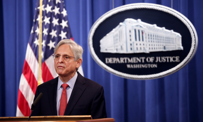 U.S. Attorney General Merrick Garland announces a federal investigation of the City of Phoenix and the Phoenix Police Department during a news conference at the Department of Justice in Washington, D.C., on Aug. 5, 2021. (Kevin Dietsch/Getty Images)