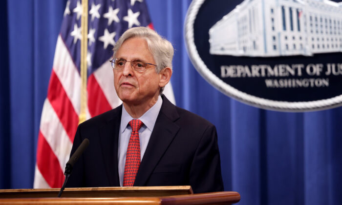 U.S. Attorney General Merrick Garland at the Department of Justice in Washington on Aug. 5, 2021. (Kevin Dietsch/Getty Images)