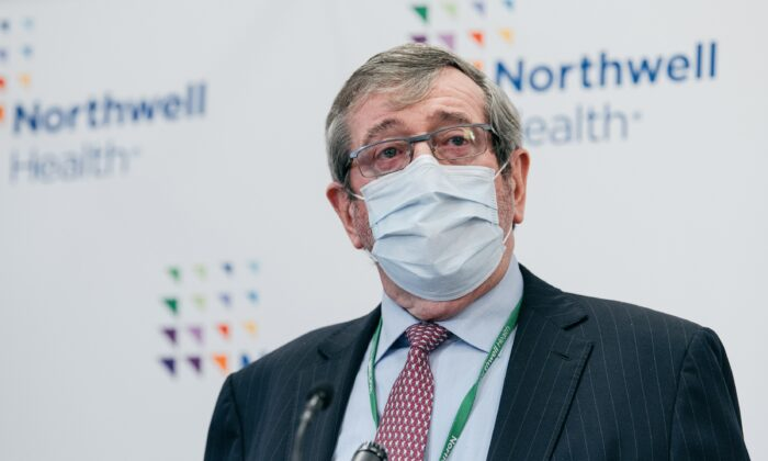 Northwell Health President Michael Dowling speaks during a press conference preceding the first COVID-19 vaccinations in New York, at Long Island Jewish Medical Center in Queens, New York City, on Dec. 14, 2020. (Scott Heins/Getty Images)