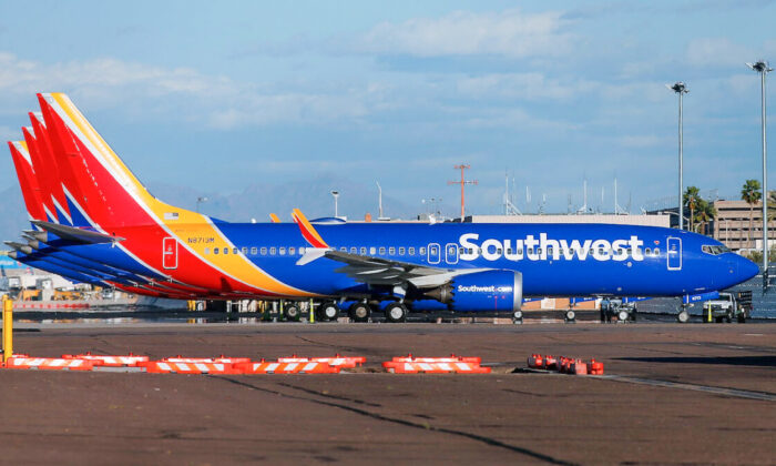 A group of Southwest Airlines Boeing 737 MAX 8 aircraft sit on the tarmac at Phoenix Sky Harbor International Airport in Phoenix, Arizona, on March 13, 2019. (Ralph Freso/Getty Images)