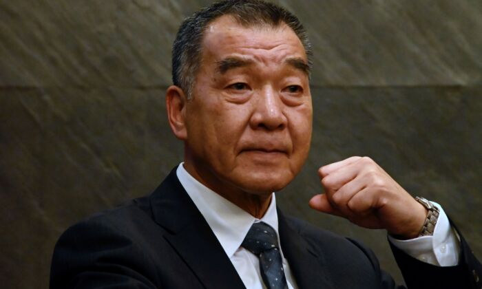 Chiu Kuo-cheng, defense minister of Taiwan, at a press conference in Taipei, Taiwan, on Aug. 2, 2019. (SAM YEH/AFP via Getty Images)