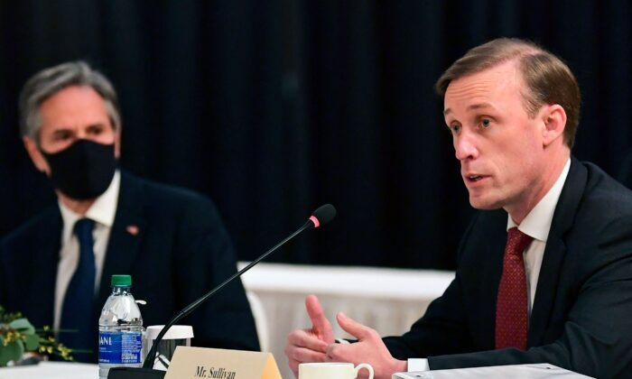 U.S. National Security Adviser Jake Sullivan (R) speaks as U.S. Secretary of State Antony Blinken looks on at the opening session of U.S.–China talks at the Captain Cook Hotel in Anchorage, Alaska, on March 18, 2021. (Frederic J. Brown/POOL/AFP via Getty Images)