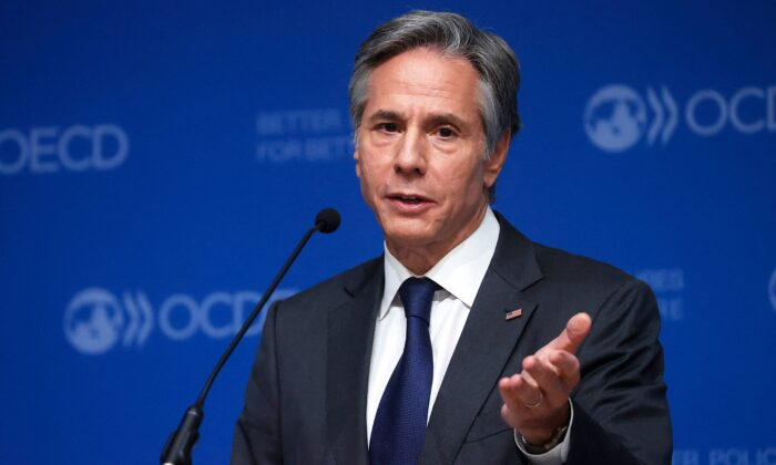 Secretary of State Antony Blinken speaks during a closing press conference with the secretary-general of the Organization for Economic Cooperation and Development (OECD) at the 60th OECD Ministerial Council Meeting in Paris on Oct. 6, 2021. (Ian Langston/POOL/AFP via Getty Images)