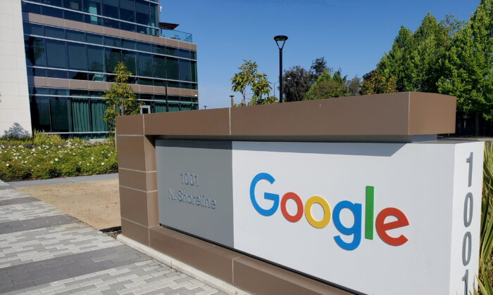 A sign is pictured outside a Google office near the company's headquarters in Mountain View, California, on May 8, 2019. (Paresh Dave/Reuters)
