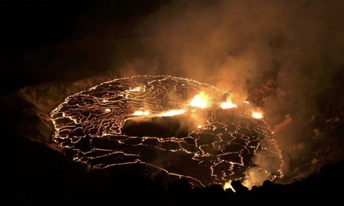 The eruption within in Kilauea volcano's Halemaumau crater at the volcano's summit on Sept. 30, 2021. (USGS via AP)