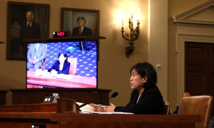 U.S. Trade Representative (USTR) Katherine Tai speaks during a hearing with the House Ways and Means committee at Capitol Hill in Washington, on May 13, 2021. (Anna Moneymaker/Getty Images)