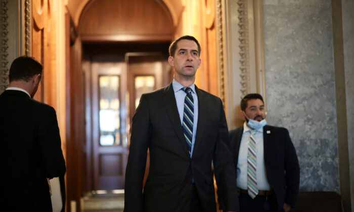 Sen. Tom Cotton (R-Ark.) departs from the Senate Chambers during a series of votes in the U.S. Capitol Building in Washington, on Oct. 06, 2021. (Anna Moneymaker/Getty Images)