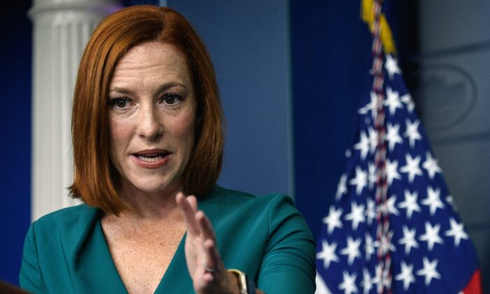 White House Press Secretary Jen Psaki speaks during the daily press briefing at the White House in Washington, DC, on October 6, 2021. (Nicholas Kamm / AFP via Getty Images)
