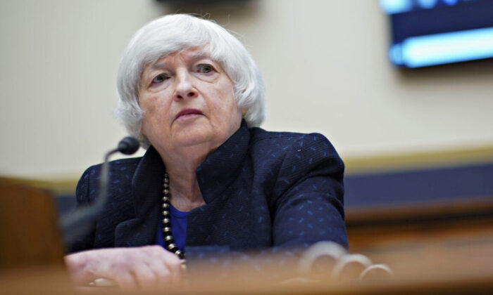Treasury Secretary Janet Yellen attends a House Financial Services Committee hearing in Washington on Sept. 30, 2021. (Al Drago/Pool via Reuters)
