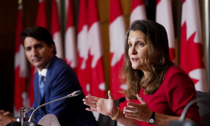 Prime Minister Justin Trudeau and Deputy Prime Minister Chrystia Freeland hold a press conference in Ottawa on Oct. 6, 2021. (The Canadian Press/Sean Kilpatrick)