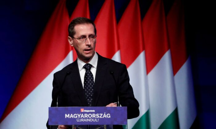 Hungary's Finance Minister Mihaly Varga spoke at a business conference in Budapest, Hungary on June 9, 2021.  (BernadettSzabo / Reuters)