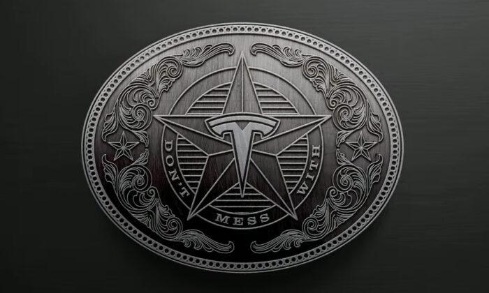 Tesla, Inc., displays a Texas-style logo during the company's 2021 Annual Shareholder Meeting on Oct. 7, 2021. (Screenshot via YouTube/Tesla)