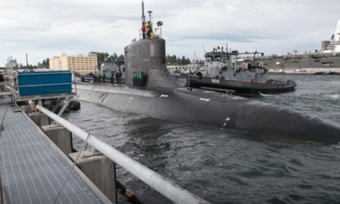 Submarine USS Connecticut docked at U.S. Naval Base Kitsap-Bremerton in Bremerton, Wash., on May 27, 2021. (Department of Defense via AP)