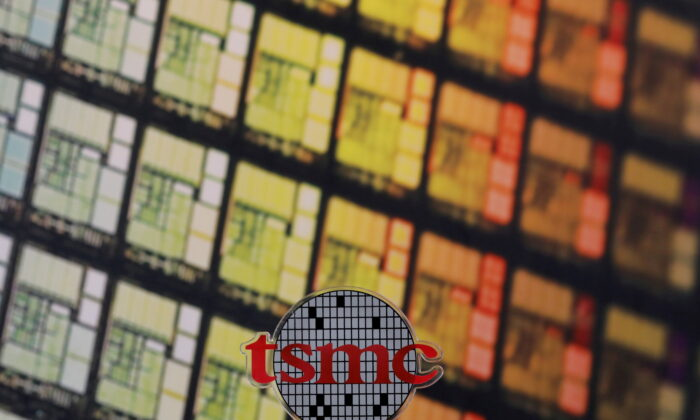 A logo of Taiwan Semiconductor Manufacturing Company Ltd. (TSMC) is seen at its headquarters in Hsinchu, Taiwan, on Aug. 31, 2018. (Tyrone Siu/Reuters)
