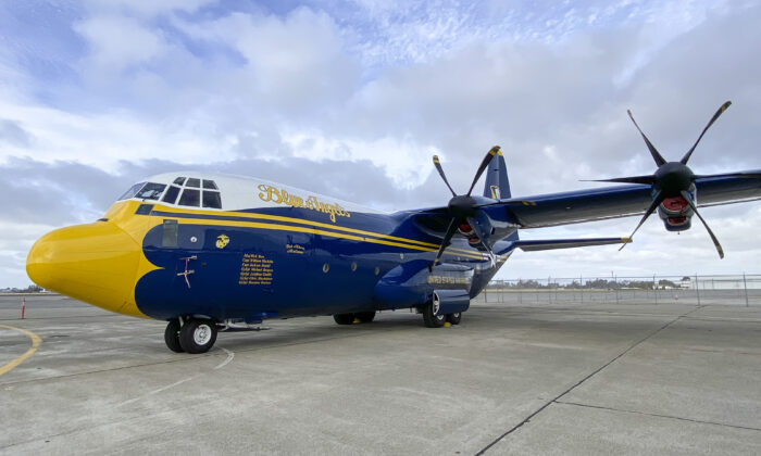 """The Blue Angels C-130, also known as """"Fat Albert,"""" at the Oakland International Airport on Oct. 7, 2021. (Ilene Eng/The Epoch Times)"""