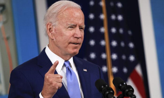 President Joe Biden speaks at a press conference in Washington, on Oct. 8, 2021 (Chip Somodevilla/Getty Images)