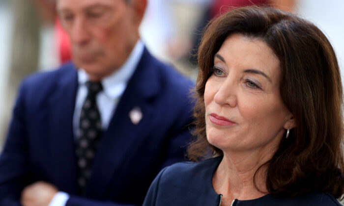 New York Gov. Kathy Hochul speaks to reporters in New York City on Sept. 8, 2021. (Chip Somodevilla/Getty Images)