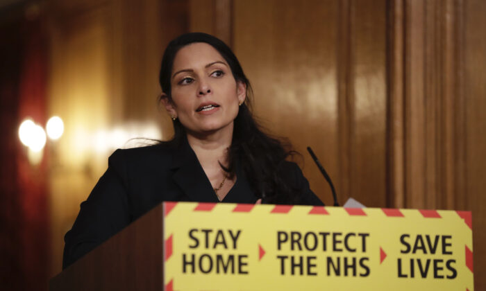 Britain's Home Secretary Priti Patel speaks during a media briefing on the COVID-19 pandemic in Downing Street, London, Jan. 21, 2021. (Matt Dunham, pool/AP Photo)
