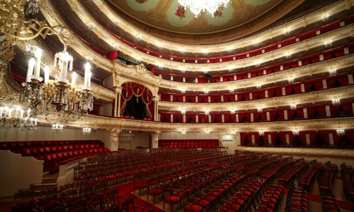 A general view shows the empty hall of the Bolshoi Theater in Moscow on March 27, 2020. (Evgenia Novozhenina/Reuters)