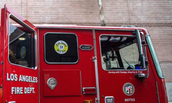 A fire truck in downtown  Los Angeles on April 12, 2020. (Apu Gomes/AFP via Getty Images)