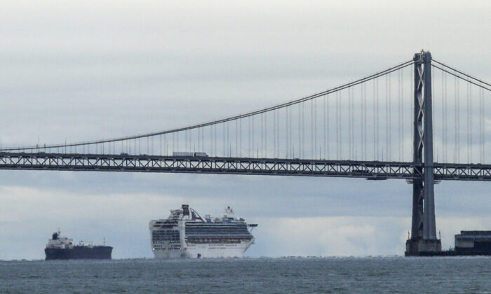 The Grand Princess cruise ship makes its way to an anchorage, in San Francisco, March 16, 2020. (Eric Risberg,File/AP Photo)