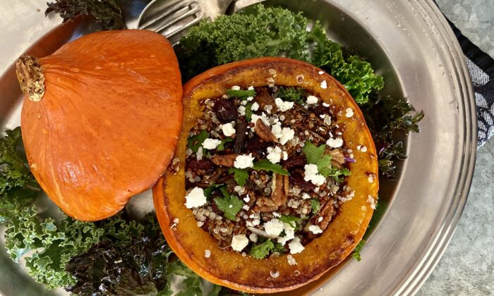 A stuffing of protein-rich quinoa, cranberries, nuts, and goat cheese turn half a squash into a whole meal. (Lynda Balslev for Tastefood)
