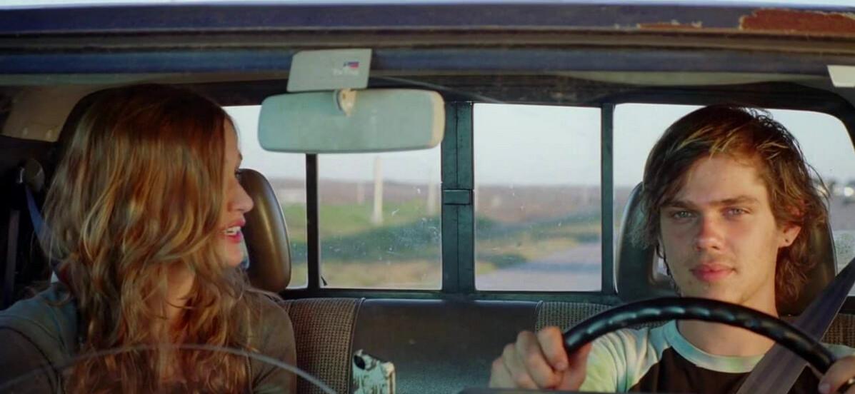 girl and boy in car in Boyhood