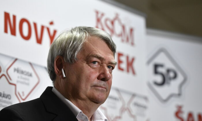 Chairman of the The Communist Party of Bohemia and Moravia (KSČM) Vojtech Filip talks to the media after the parliamentary election in Prague, Czech Republic, on Oct. 9, 2021. (Radek Petrasek/CTK via AP)