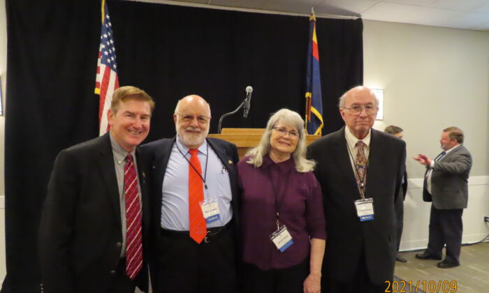 The National Federation of Republican Assemblies passed a resolution urging state officials and Congress members to work to stop organ harvesting of prisoners in China during a meeting in Scottsdale, Arizona, on Oct. 9. From left: Bill Cardoza, chairman of the Sacramento Republican Congress, Norman H. Reece, chairman of the Solano Republican Congress, his wife Jeanine Reece, and Mike Gomez, vice chairman of the Solano Republican Congress. (The Epoch Times)